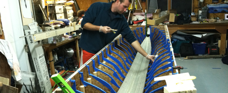 Dan working on the hull